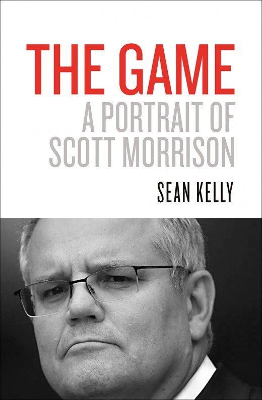 White cover with black and white photograph of Scott Morrison on the bottom half